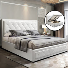 Load image into Gallery viewer, Artiss TIYO Queen Size Gas Lift Bed Frame Base With Storage Mattress White Leather