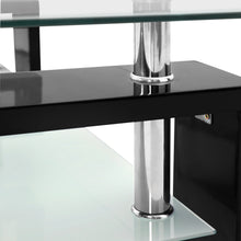 Load image into Gallery viewer, Artiss 2 Tier Glass Coffee Table - Black