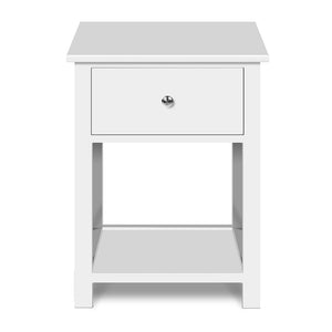 Bedside Table Coffee Side Cabinet Drawer Wooden White