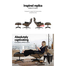 Load image into Gallery viewer, Artiss Eames Replica Lounge Chair and Ottoman Recliner Armchair Leather Plywood Black