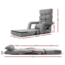 Load image into Gallery viewer, Artiss Lounge Sofa Armchair Floor Recliner Chaise Linen Light Grey