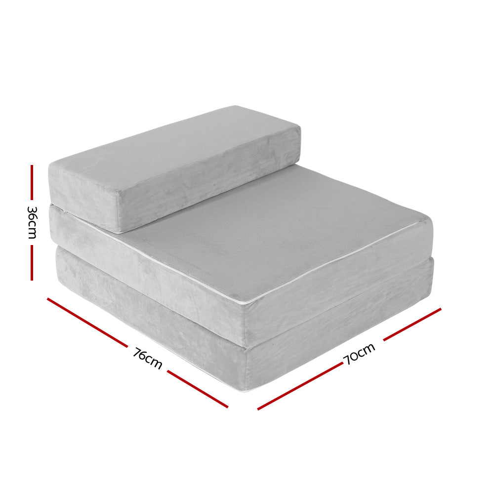 Stupendous Giselle Bedding Folding Foam Mattress Portable Sofa Bed Lounge Chair Velvet Light Grey Creativecarmelina Interior Chair Design Creativecarmelinacom