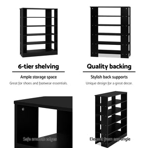Artiss Shoe Cabinet Shoes Organiser Storage Rack 30 Pairs Black Shelf Wooden