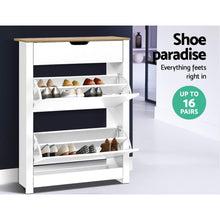Load image into Gallery viewer, Artiss Shoe Cabinet Rack Storage Organiser Cupboard Shelf Drawer 16 Pairs White