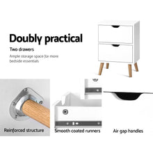 Load image into Gallery viewer, Artiss Bedside Tables Drawers Side Table Nightstand White Storage Cabinet Wood
