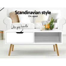 Load image into Gallery viewer, Artiss Coffee Table Storage Drawer Open Shelf Wooden Legs Scandinavian White
