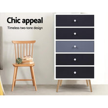 Load image into Gallery viewer, Artiss 5 Chest of Drawers Dresser Table Tallboy Storage Cabinet Furniture Black