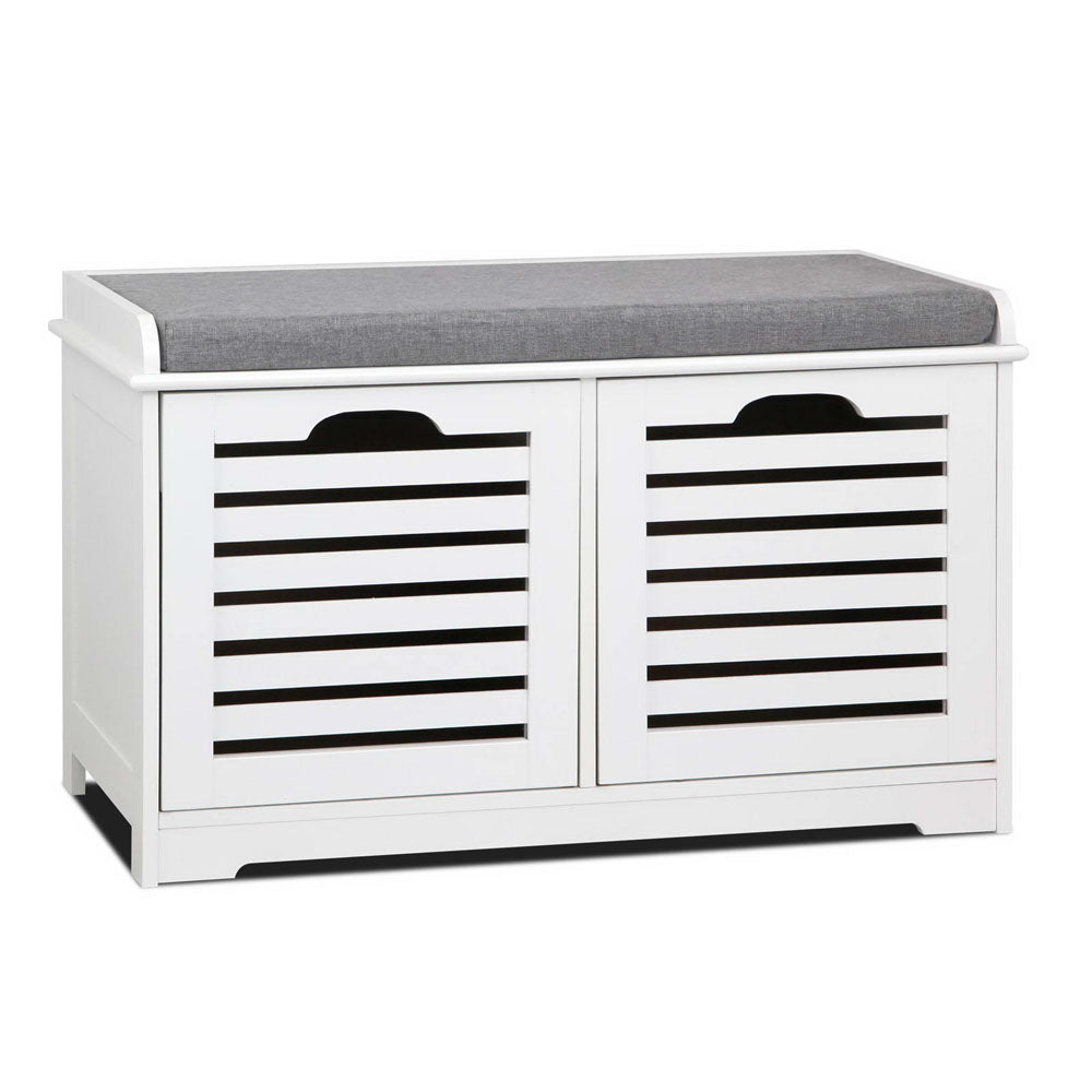 Artiss Fabric Shoe Bench with Drawers - White & Grey