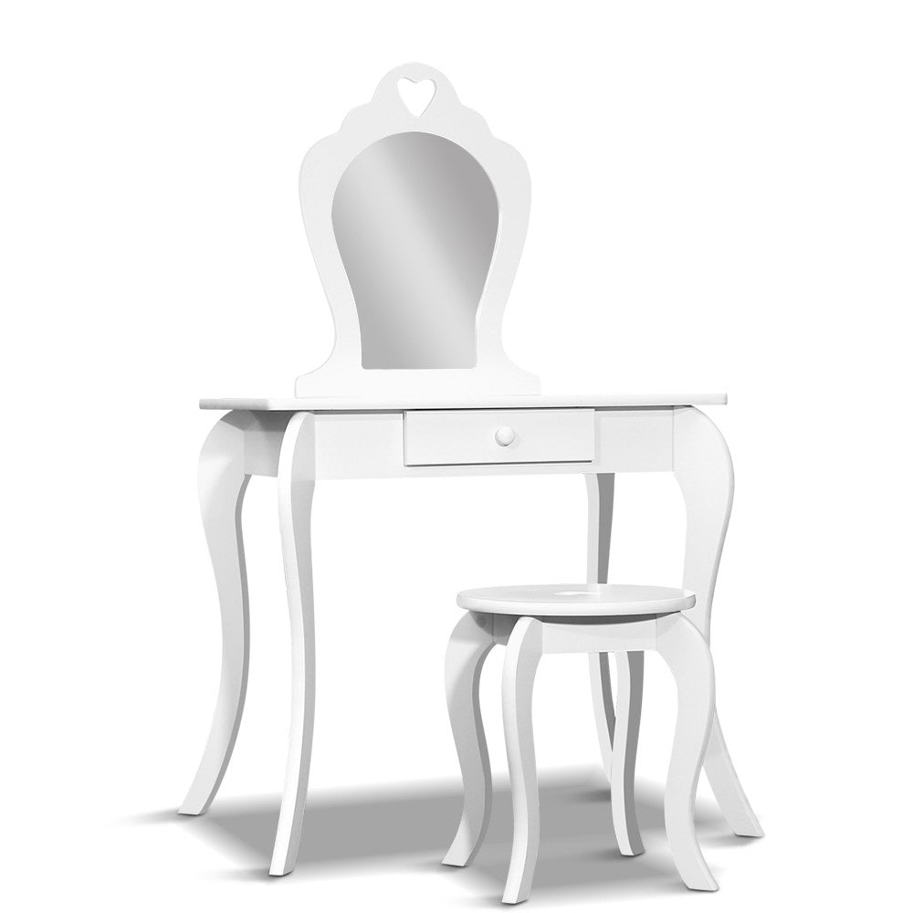 Artiss Kids Vanity Dressing Table Stool Set Mirror Drawer Children Makeup White