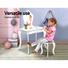 Load image into Gallery viewer, Artiss Kids Vanity Dressing Table Stool Set Mirror Drawer Children Makeup White