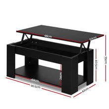 Load image into Gallery viewer, Artiss Lift Up Top Coffee Table Storage Shelf Black