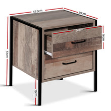 Load image into Gallery viewer, Artiss Bedside Table Drawers Nightstand Metal Oak