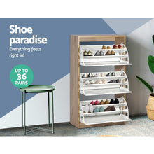 Load image into Gallery viewer, Artiss 36 Pairs Shoe Cabinet Rack Organiser Storage Shelf Wooden