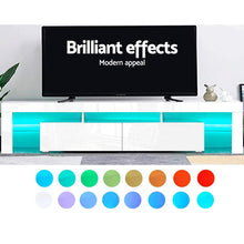 Load image into Gallery viewer, Artiss TV Cabinet Entertainment Unit Stand RGB LED Gloss Furniture 2 Drawers 200cm White