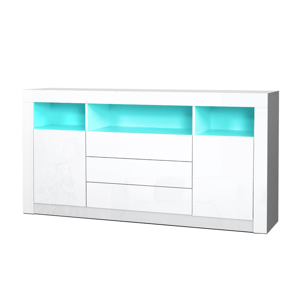Artiss Buffet Sideboard Cabinet 3 Drawers High Gloss Storage Cupboard LED