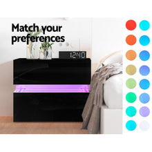 Load image into Gallery viewer, Artiss Bedside Table 2 Drawers RGB LED Side Nightstand High Gloss Cabinet Black
