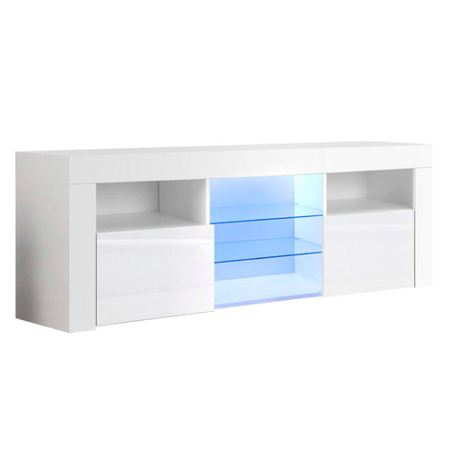 Artiss 145cm RGB LED TV Stand Cabinet Entertainment Unit Gloss Furniture Tempered Glass Shelf White