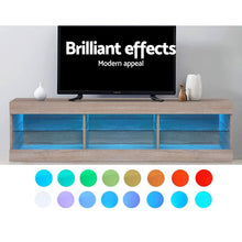 Load image into Gallery viewer, Artiss TV Cabinet Entertainment Unit Stand RGB LED Glass Shelf Storage 150cm Oak