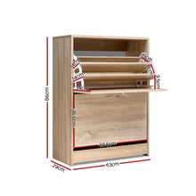 Load image into Gallery viewer, Artiss Shoe Cabinet Shoes Storage Rack 24 Pairs Organiser Shelf Cupboard Oak