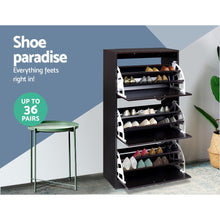 Load image into Gallery viewer, Artiss Shoe Cabinet Shoes Organiser Storage Rack 36 Pairs Shelf Cupboard Walnut