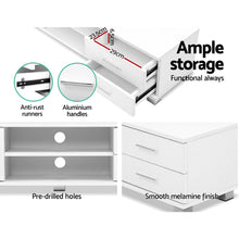 Load image into Gallery viewer, Artiss 120cm TV Stand Entertainment Unit Storage Cabinet Drawers Shelf White