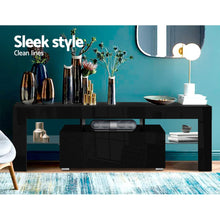 Load image into Gallery viewer, Artiss TV Cabinet Entertainment Unit Stand RGB LED Gloss Furniture 130cm Black