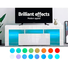 Load image into Gallery viewer, Artiss 130cm RGB LED TV Stand Cabinet Entertainment Unit Gloss Furniture Drawer Tempered Glass Shelf White