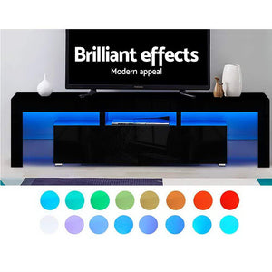 Artiss 189cm RGB LED TV Stand Cabinet Entertainment Unit Gloss Furniture Drawers Tempered Glass Shelf Black