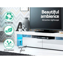 Load image into Gallery viewer, Artiss 189cm RGB LED TV Stand Cabinet Entertainment Unit Gloss Furniture Drawers Tempered Glass Shelf White