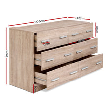 Load image into Gallery viewer, Artiss 6 Chest of Drawers Cabinet Dresser Table Tallboy Lowboy Storage Wood
