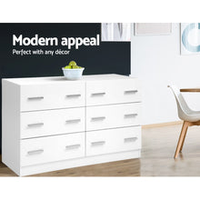 Load image into Gallery viewer, Artiss 6 Chest of Drawers Cabinet Dresser Tallboy Lowboy Storage Bedroom White