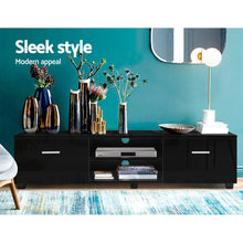Load image into Gallery viewer, Artiss 140cm High Gloss TV Cabinet Stand Entertainment Unit Storage Shelf Black