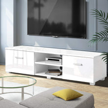 Load image into Gallery viewer, Artiss TV Cabinet Entertainment Unit Stand High Gloss Furniture Storage Drawers 140cm White