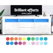 Load image into Gallery viewer, Artiss TV Cabinet Entertainment Unit Stand RGB LED Gloss Drawers 160cm White