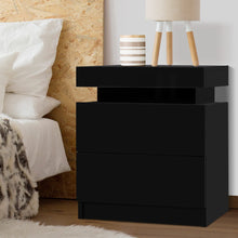 Load image into Gallery viewer, Artiss Bedside Tables 2 Drawers Side Table Storage Nightstand Black Bedroom Wood