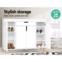 Load image into Gallery viewer, Artiss Shoe Cabinet Shoes Storage Rack 120cm Organiser White Drawer Cupboard