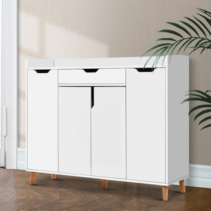 Artiss Shoe Cabinet Shoes Storage Rack 120cm Organiser White Drawer Cupboard