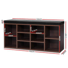 Load image into Gallery viewer, Artiss Shoe Cabinet Bench Shoes Storage Rack Organiser Shelf Cupboard Box Walnut