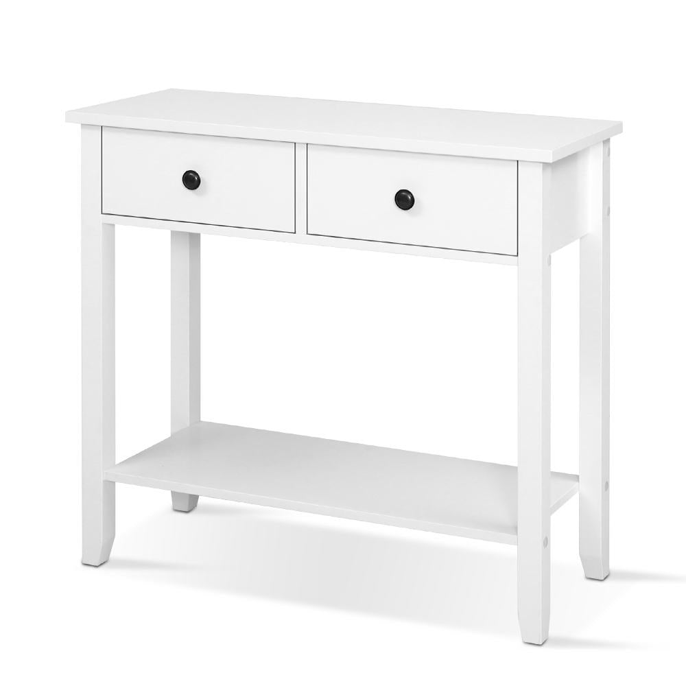 Hallway Console Table Hall Side Entry 2 Drawers Display White Desk Furniture