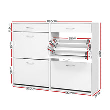 Load image into Gallery viewer, Artiss 36 Pairs Shoe Cabinet Rack Organisers Storage Shelf Drawer Cupboard White