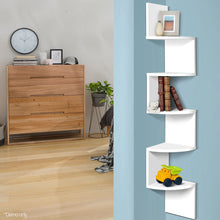 Load image into Gallery viewer, Artiss 5 Tier Corner Wall Shelf - White