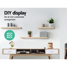 Load image into Gallery viewer, Artiss 3pcs Wall Floating Shelf Set DIY Mount Storage Book Display Rack Oak