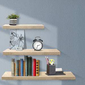 Artiss 3pcs Wall Floating Shelf Set DIY Mount Storage Book Display Rack Oak