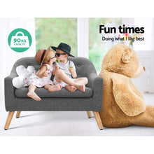 Load image into Gallery viewer, Artiss Kids Sofa Armchair Lounge Chair Chairs Children Couch Double Fabric Grey