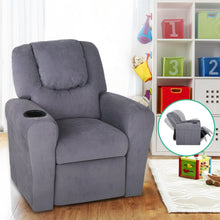 Load image into Gallery viewer, Artiss Kids Fabric Reclining Armchair - Grey