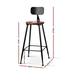 2x Artiss Vintage Bar Stools ALEX Retro Pine Wood Metal Frame