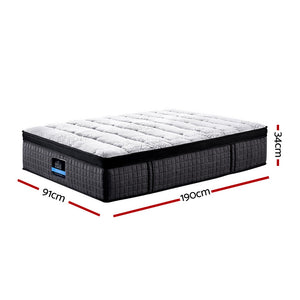 Giselle Bedding Single Bed Mattress 7 Zone Pocket Spring Cool Gel Foam Medium Firm 30cm