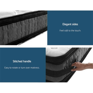 Giselle Bedding 36CM King Single Mattress 7 Zone Euro Top Pocket Spring Medium Firm Foam