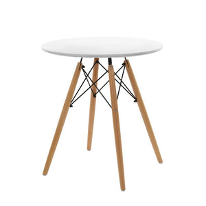 Artiss Replica Eames DSW Eiffel Dining Table Kithcen Cafe 4 Seater Timber Round White