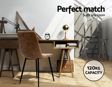 Load image into Gallery viewer, Artiss Dining Chairs Replica Kitchen Chair PU Leather Padded Retro Iron Legs x2